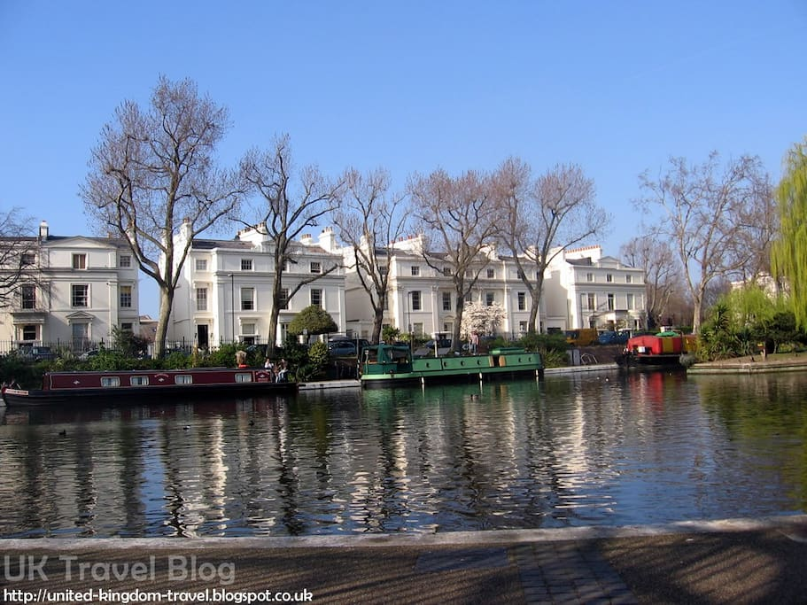 Beautiful Little Venice is 5 to 10 mins walk.Canal boats all day to Camden Market (45mins cruise) via Regents Park & London Zoo.