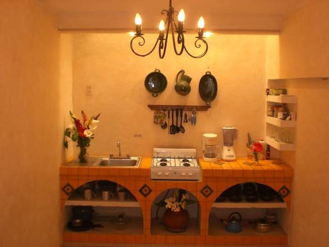 Kitchen with mexican tile made by hand.  Studio/apartment 3