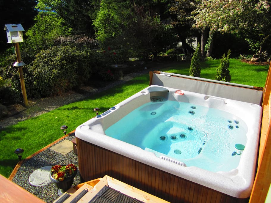 Enjoy the serenity of the 1/2 acre garden as you soak away your stress in the hot tub.