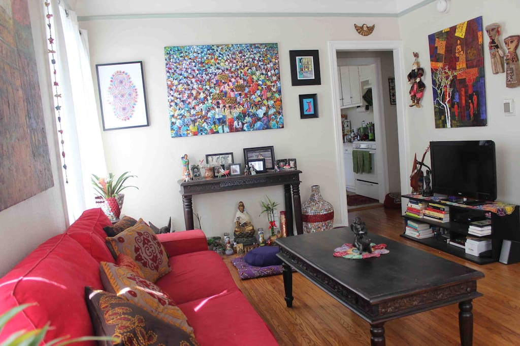 Living room with art pieces from all over the world