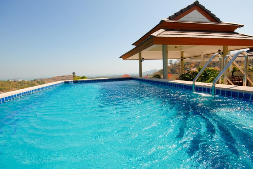 private swimming pool on top of the roof