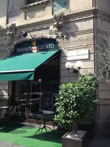 Panino Giusto- via Malpighi, for quick lunch and supper.