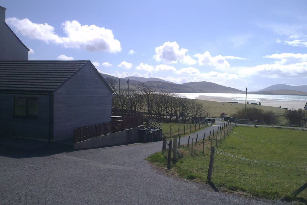 View from Outside of Cabin onto Luskentyre Beach and South Harris