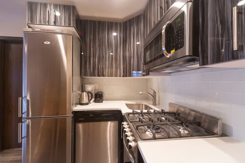 Stainless steel appliances, and a dishwasher