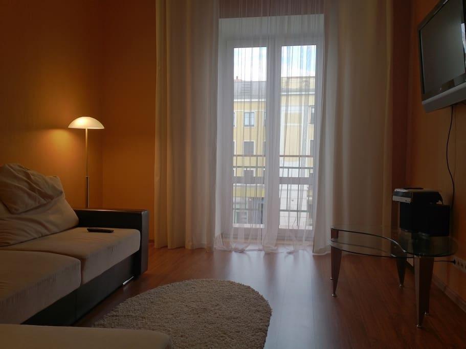 Прекрасный вид из окна,балкон,жк тв,стильная мебель