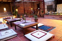 When the weather is nice, the roof terrace is the perfect setting to enjoy Pramila's food...