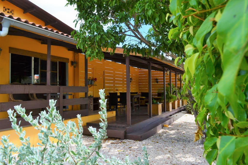 The Garden Bungalow offers a large shady veranda with lots of privacy.