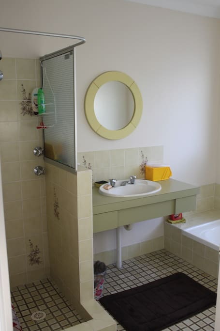 Clean bathroom and shower. There is a separate toilet for guest use