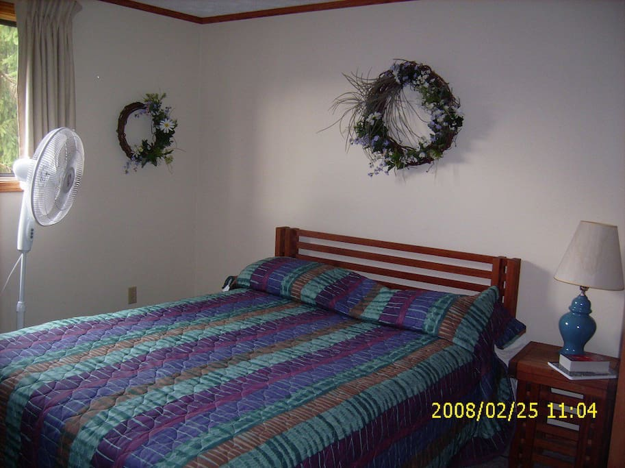 two bedrooms each has a double bed. This is bedroom #1. Each bedroom has it's own full bathroom.