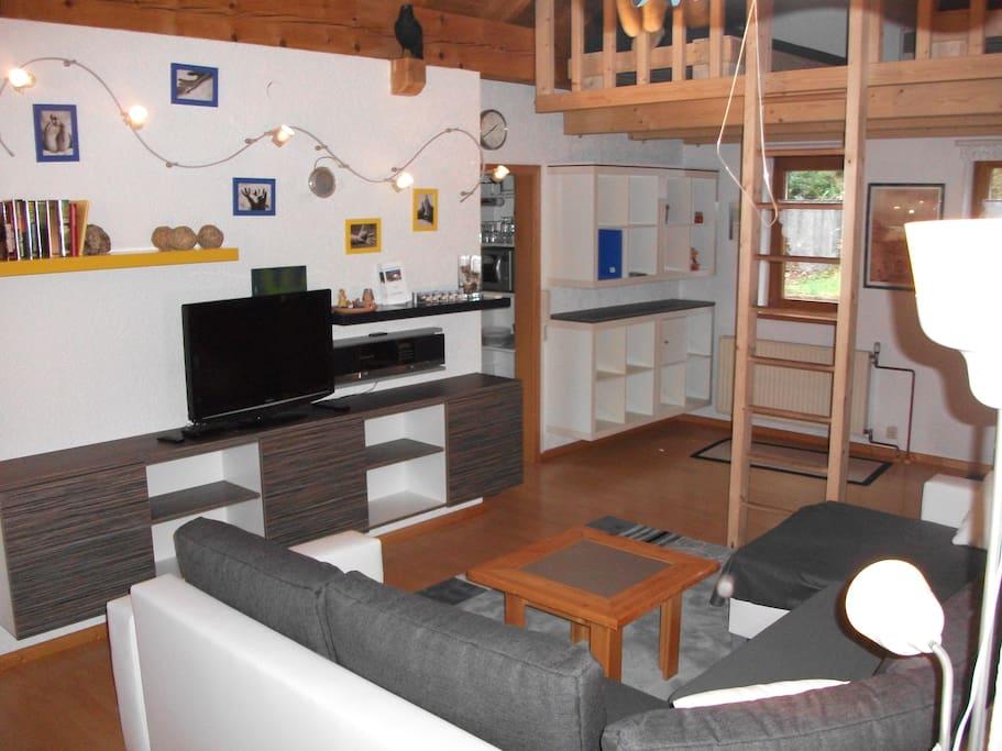 Wohnzimmer mit TV Radio und blu ray disk
