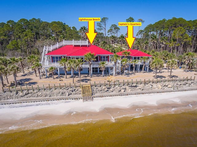 Captain's Quarters located on Carrabelle Beach!  Beautiful Sunrises and Sunsets