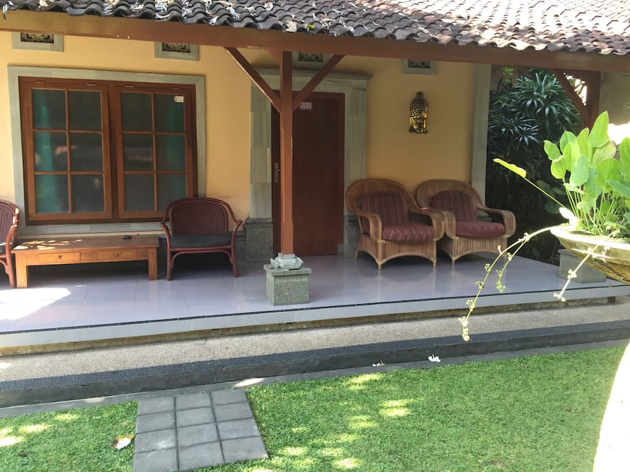 Private seating area with garden view