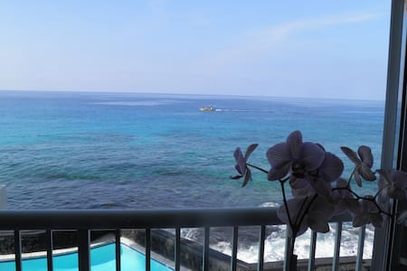Would you like a dream vacation right on the ocean where you could see fish, dolphins, whales and incredible Kona Sunset right at the comfort of your own room? Snorkeling and boogie boarding outside of the front door step? You get them all here.