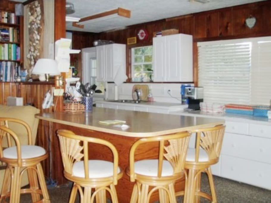 Spacious eat-in kitchen with two refrigerators and everything you'll need to host a great vacation!
