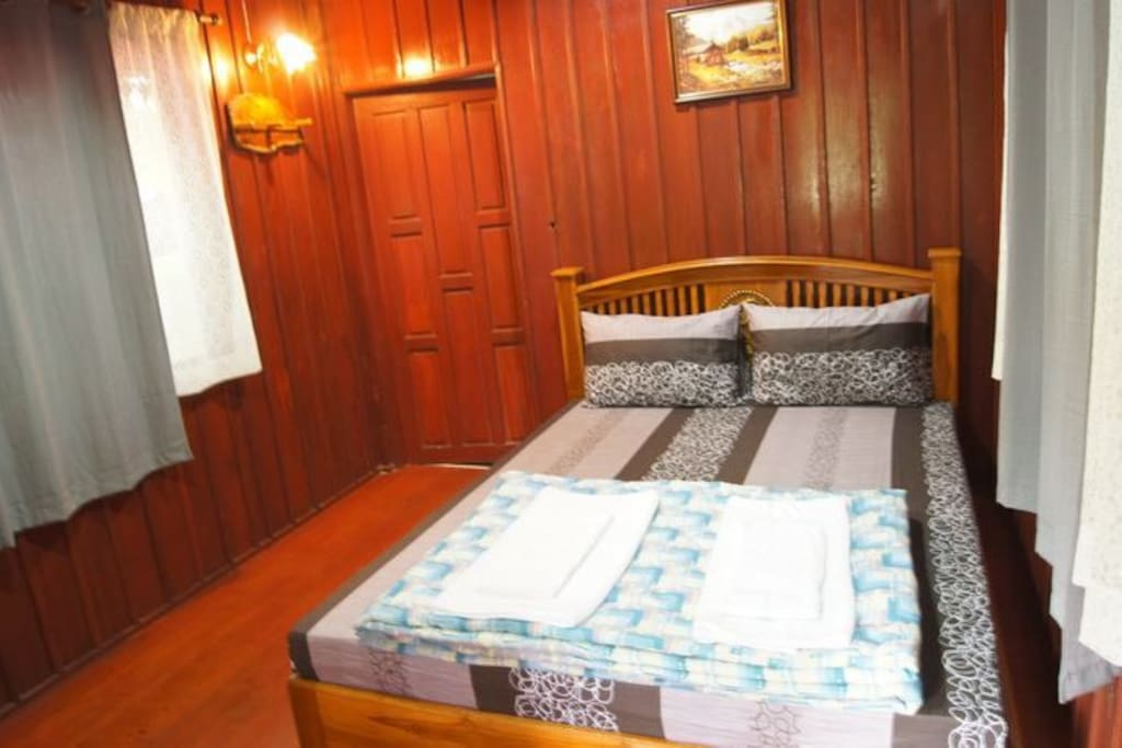 Queen size bed for 2 persons , Fridge , electric kettle ,