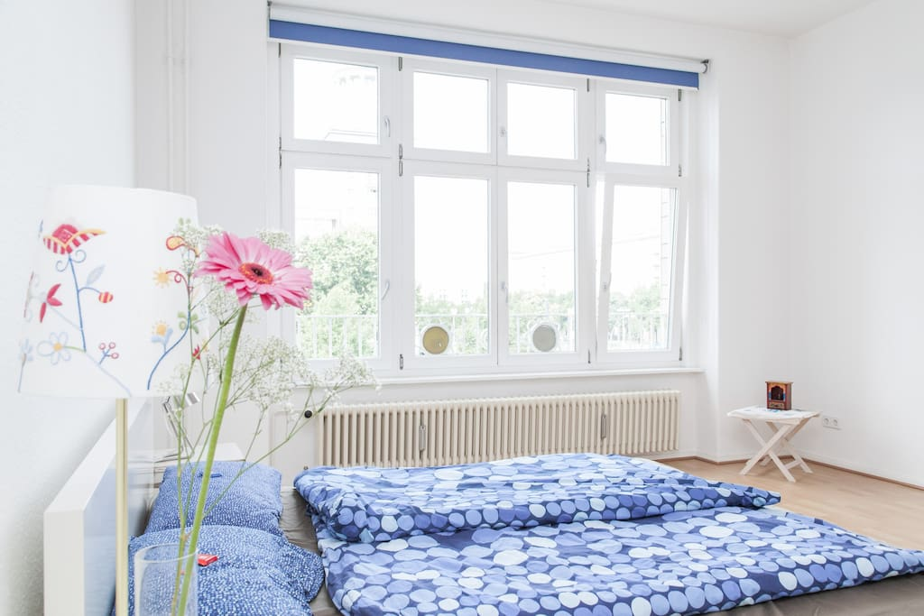 A bright spacious bedroom.