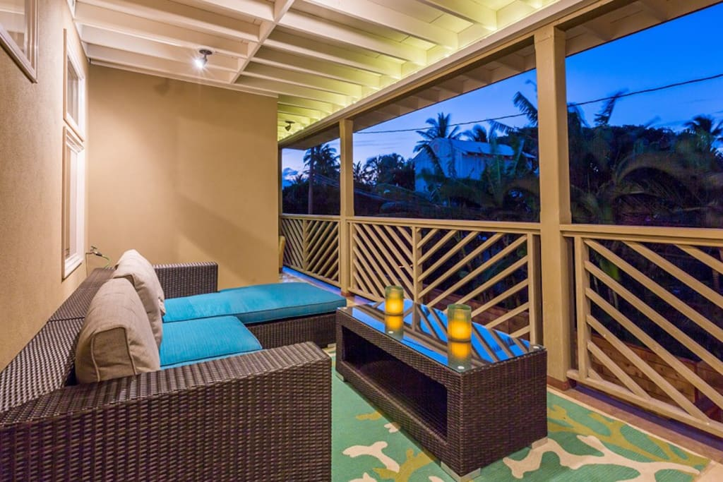 Upper level covered lanai seating