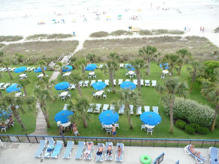 Grassy area between condo pool area and beach