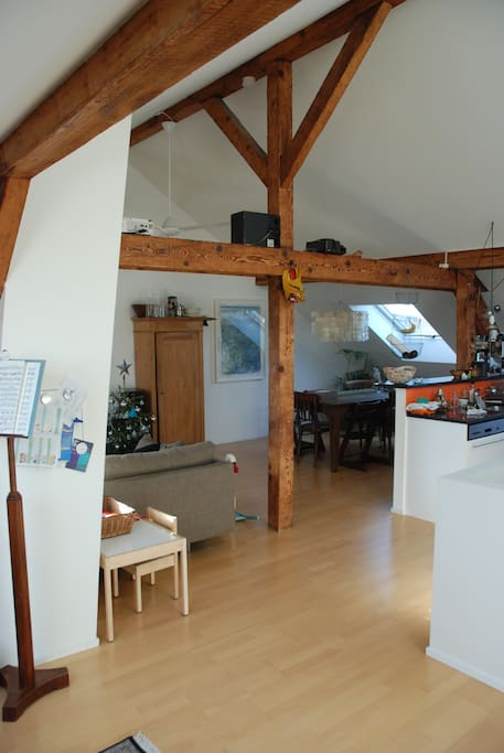 The attic is very spacious and features an open kitchen