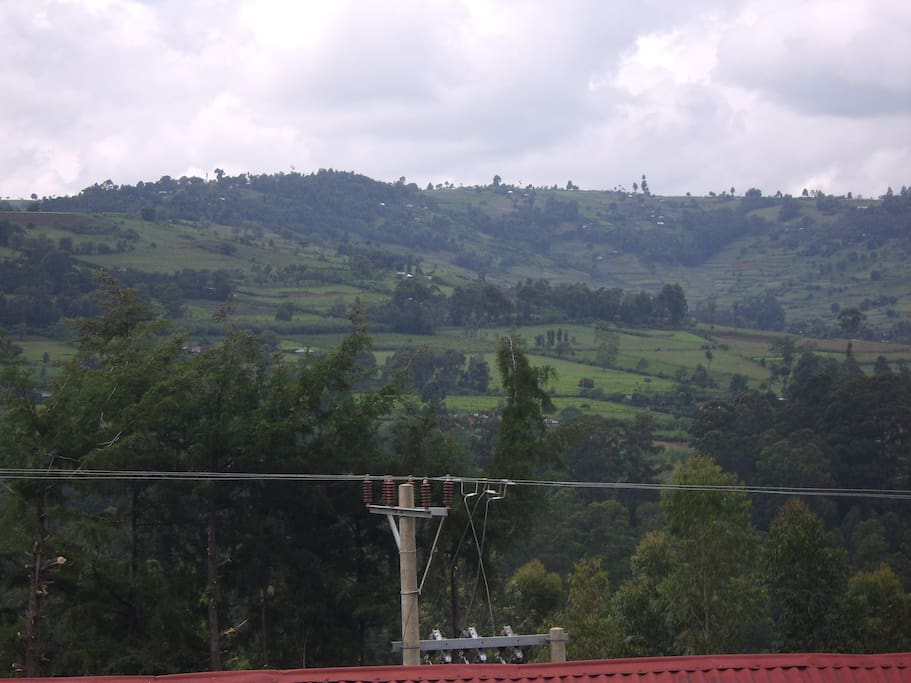 View from house - High elevation mountains - intensive rural farming
