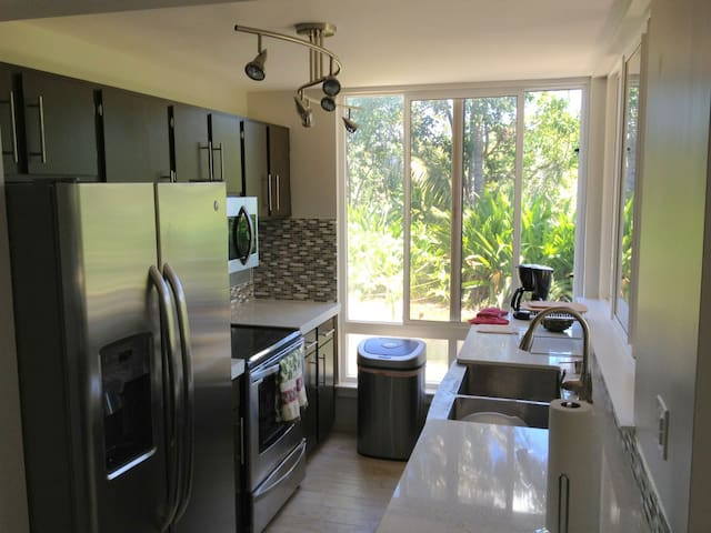 The Kitchen, fully loaded with stainless steel frisge, dishwasher/dryer, stainless steel oven, overhead microwave + vent for cooking and the farmhouse sink.