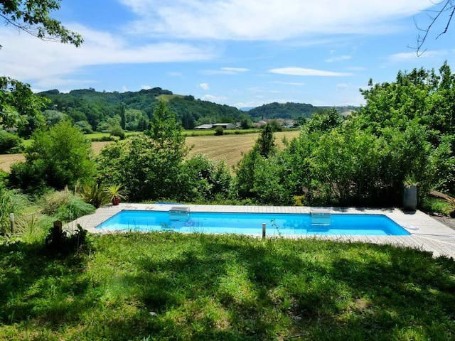 Panoramic views of the countryside from the heated pool