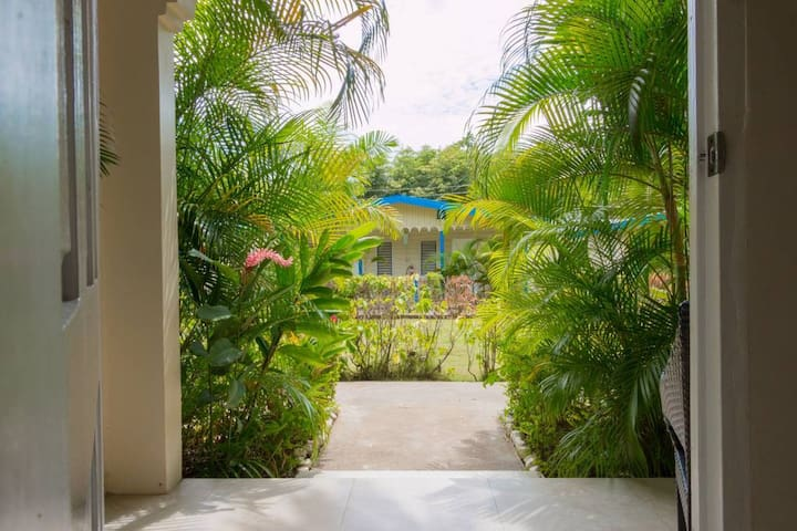 The view from your room. Few steps to the right are the pool and beach,