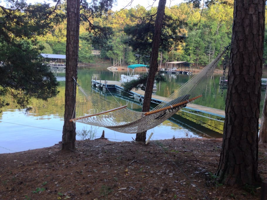 Melt away in the hammock overlooking the cove