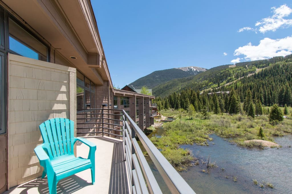 Balcony overlooking the ski area and marshland