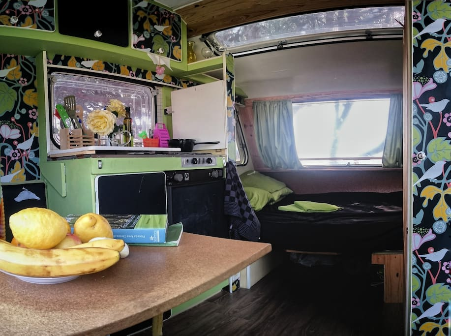 Cutely restyled inside with fridge, gas stove, water sink...