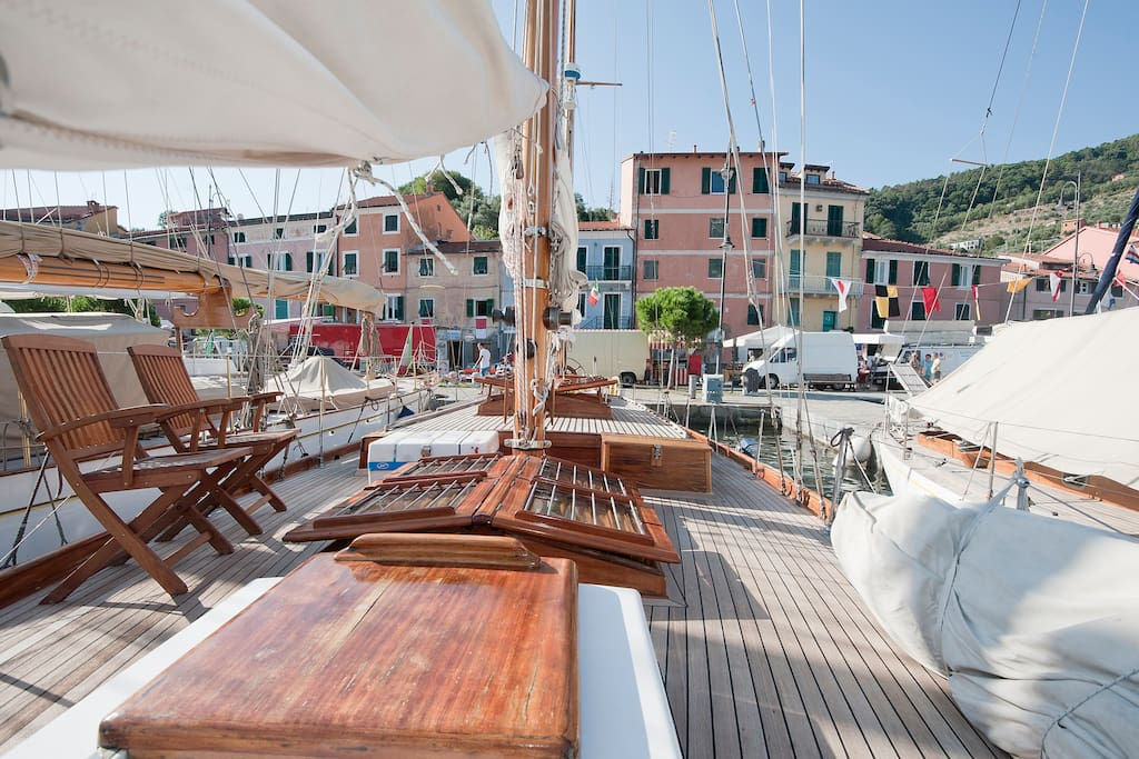 The yacht is docked in LeGrazie - Portovenere a true Italian fishing town with no tourists (only 20 min from La Spezia)
