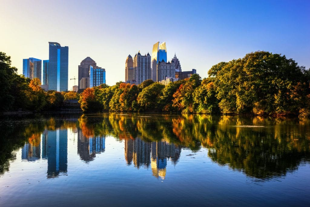 View of midtown from Piedmont Park lake (7 blocks from the house)
