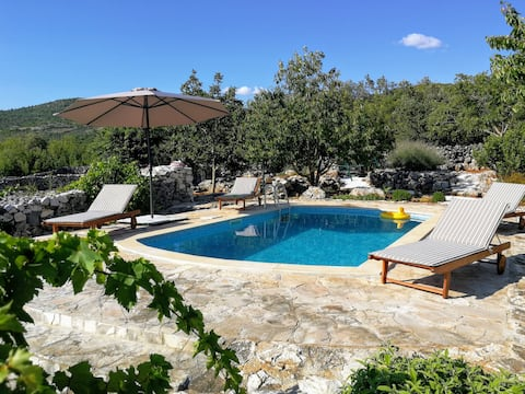 Rustic Dalmatian apartment with a pool