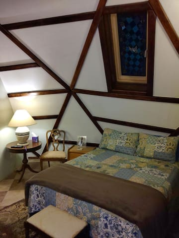 Exhausted and need a good long sleep? This master bedroom lures you in with relaxing colors, a super comfy queen sized bed, and its own TV with streaming services. Yes, WiFi is standard throughout the house.