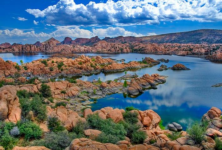 Lake Magnificent (Watson Lake) resembles like a luscious Mars-scape with water. It's a motorboat-free lake replete with birds. Feel free to ask us about our kayaks.