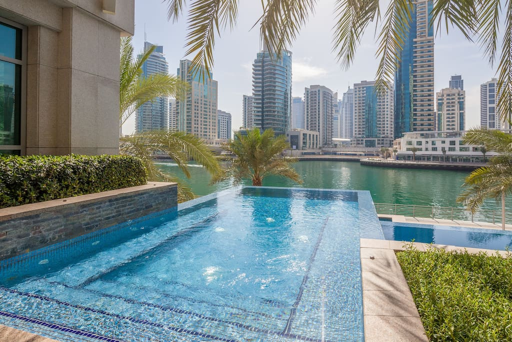 Infinity pool overlooking the Dubai Marina.