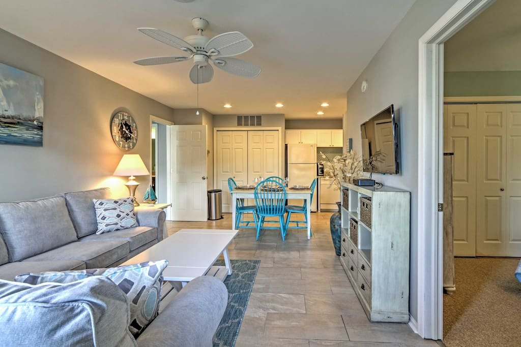 Inside, the home boasts 2 bedrooms, 2 bathrooms and accommodations for 8.