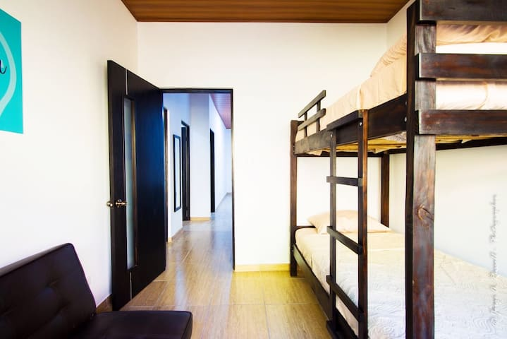 2nd bedroom - Wood bunkbeds & a Sofa bed