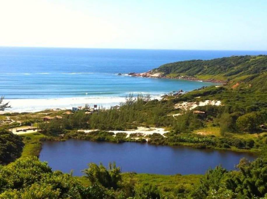 Foto tirada do deck e terraço / Lagoa Doce e Rosa Sul e Norte fazem parte da vista panorâmica