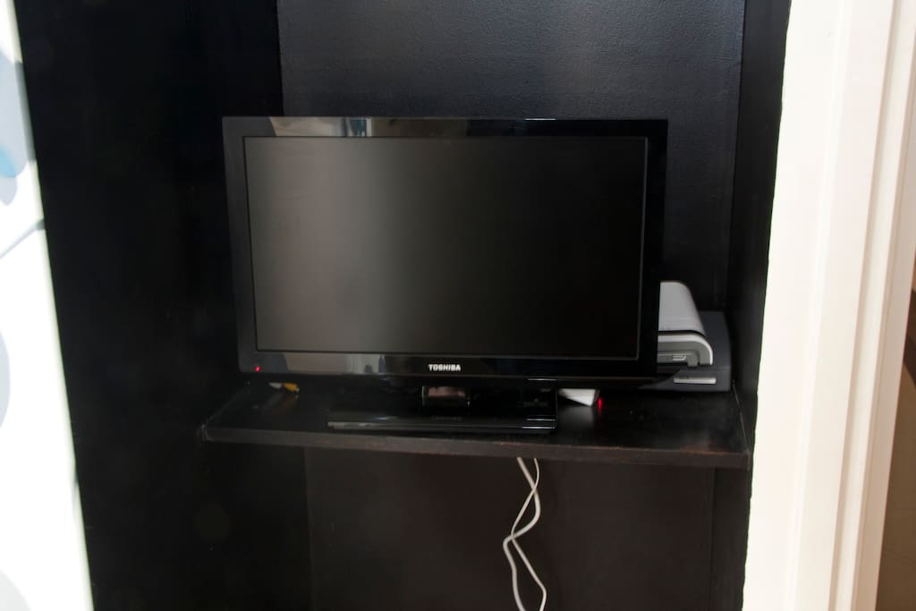 Television (with over 70 channels) and Internet (WiFi plus 4 port hub)