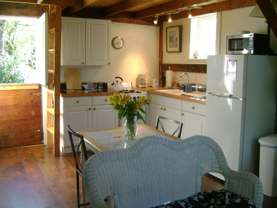 Kitchen area, Dutch door and ladder to sleeping loft to the left.