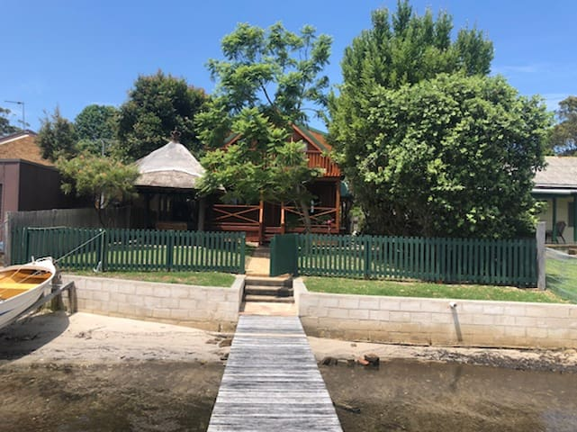 Waterfront Log Cabin on Burrill Lake with Jetty