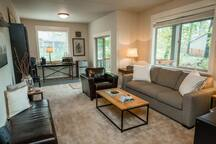 Spacious living area seats up to five comfortably