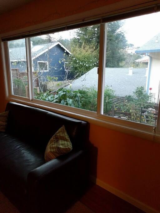 Living room overlooks the garden.