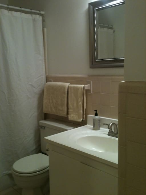 Guest bath; we'll provide towels and linens