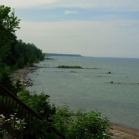 View down the coast from the cottage