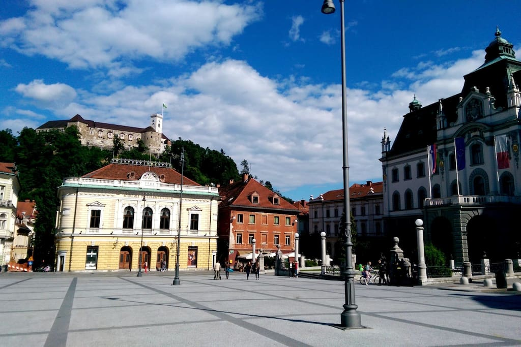 Congress Square Ljubljana  (Slovene: Kongresni trg) is one of the central squares in Ljubljana, the capital of Slovenia and it is 50 m from the apartment!!