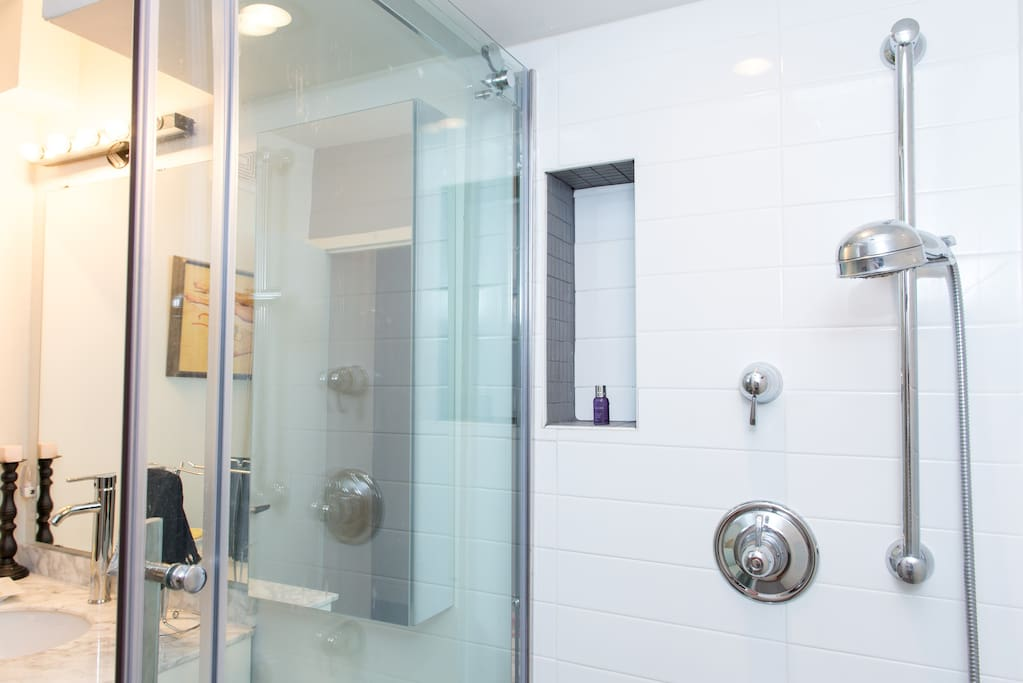 Rain shower stall with built in shelving