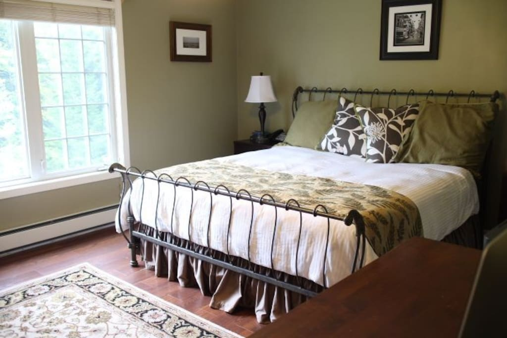 Master Bedroom with bathroom and King sized bed.