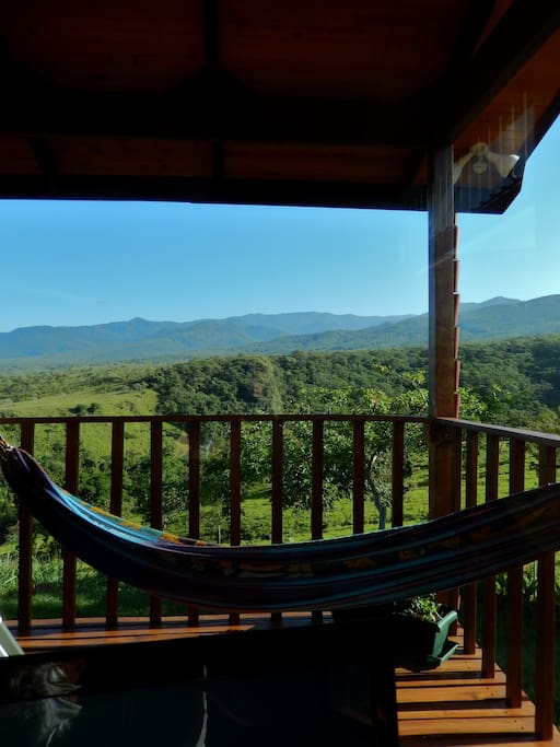 Writer's desk view from inside the Talamanca cabin.